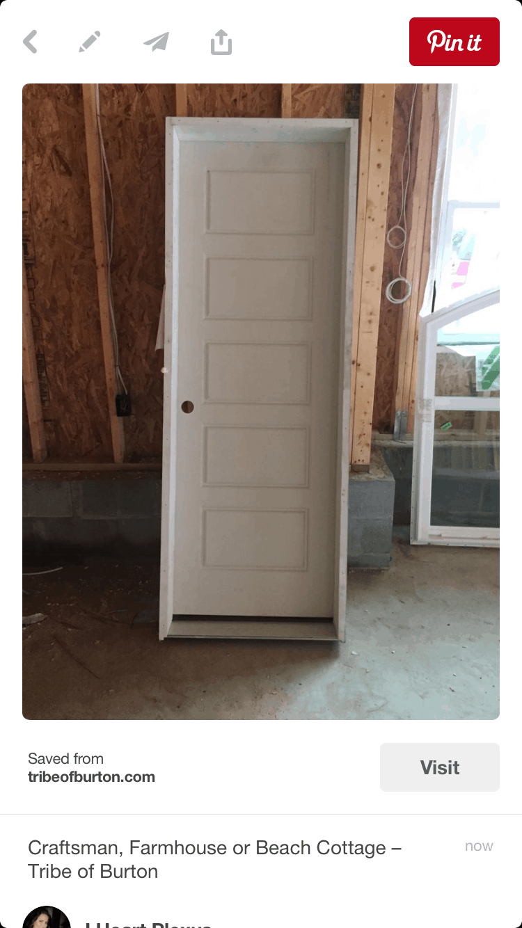 Picture of a door being pinned to pinterest because people want to see a door in a new garage.