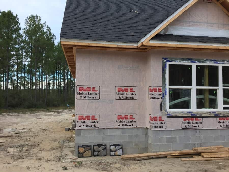 Exterior Stone up against a house being built