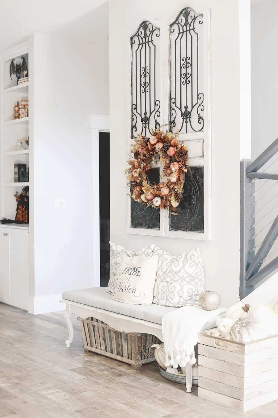 Fall decor with a wreath in the foyer.