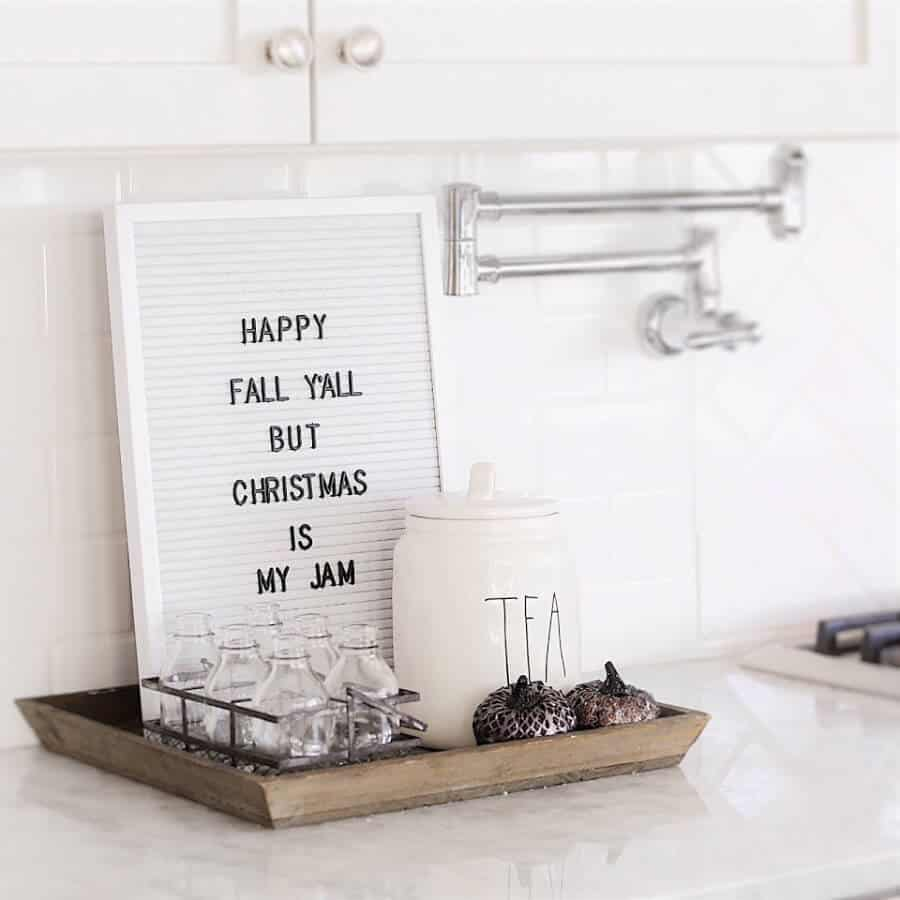 Custom sign That reads Happy Fall Y'all but Christmas is my Jam.