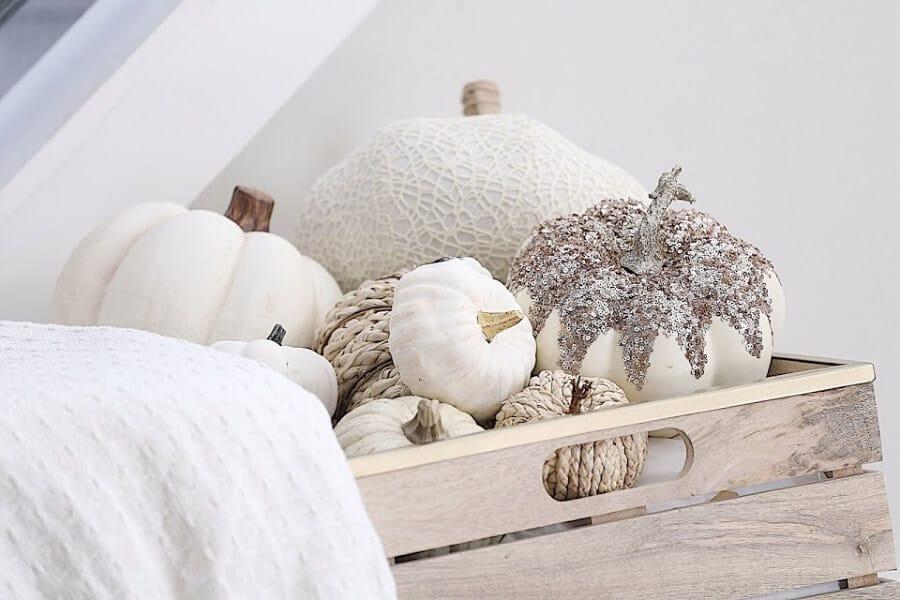 Basket full of white pumpkins