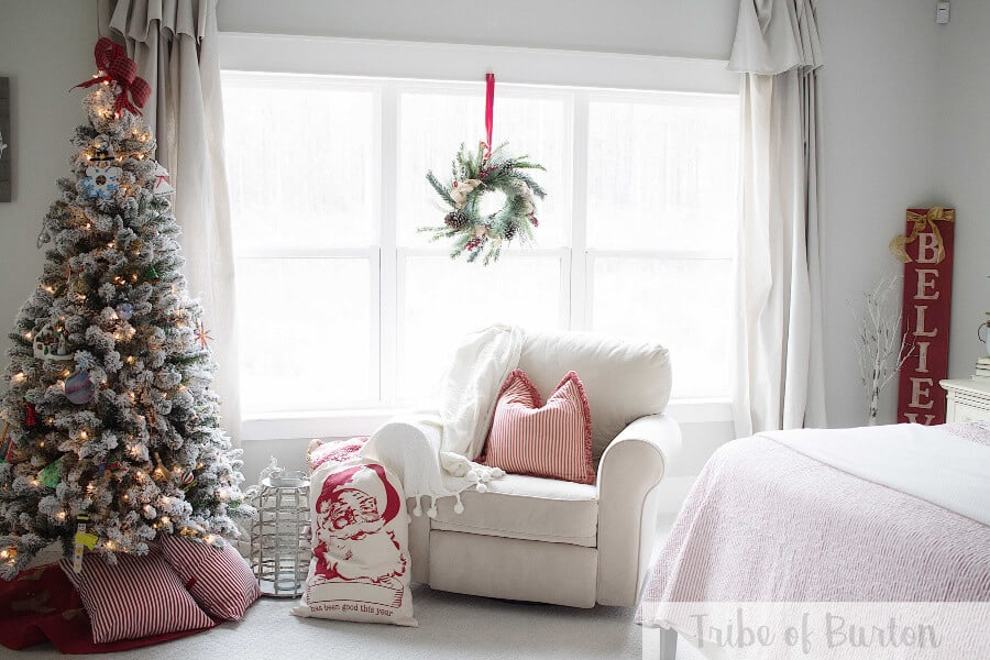 Country Christmas Bedroom with Artificial Christmas tree