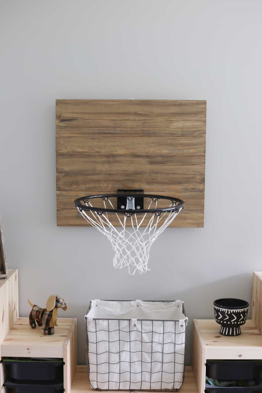 Basketball hoop used as a laundry basket