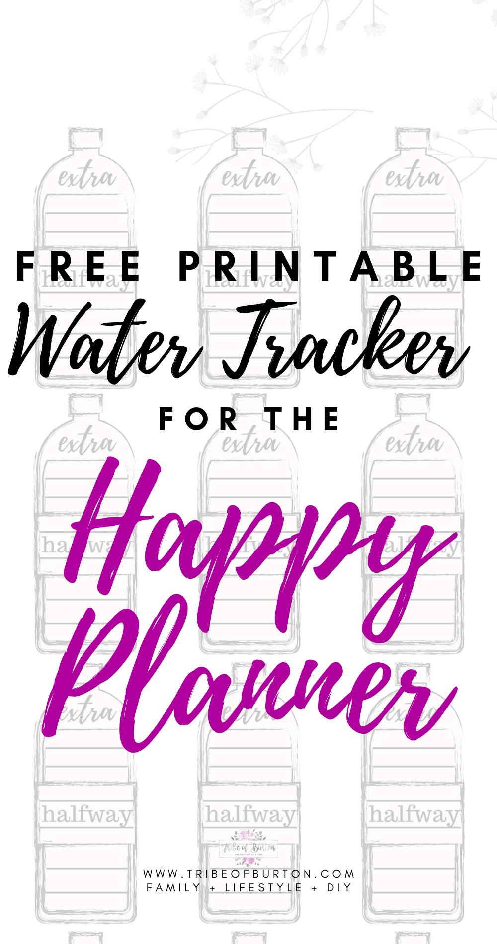 Free printable water tracker for the happy planner.
