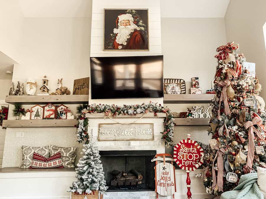 Family Room with Christmas Decor