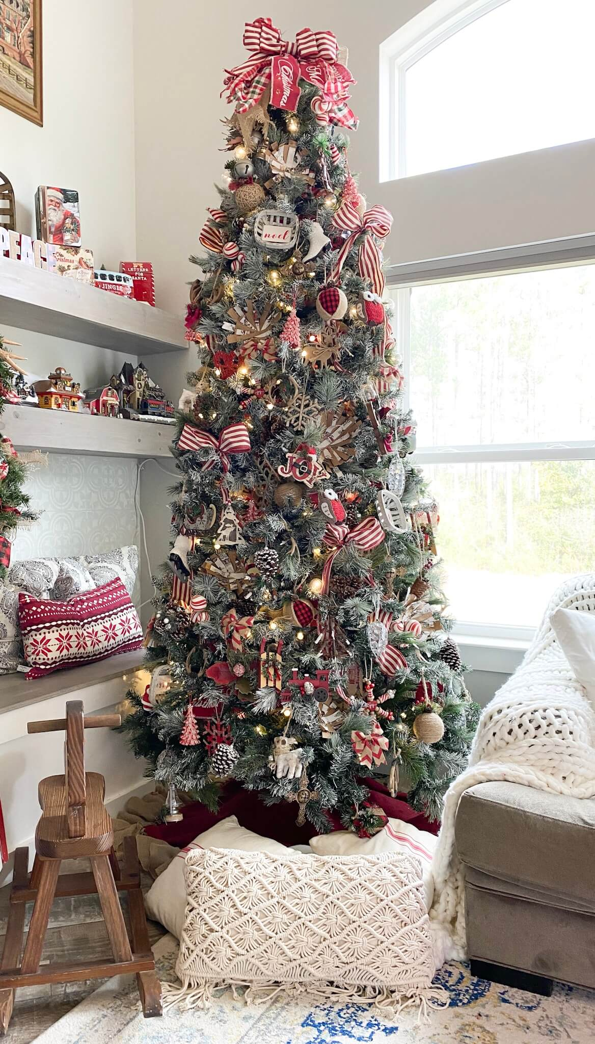 Christmas Tree decorated with rustic decor in the family room