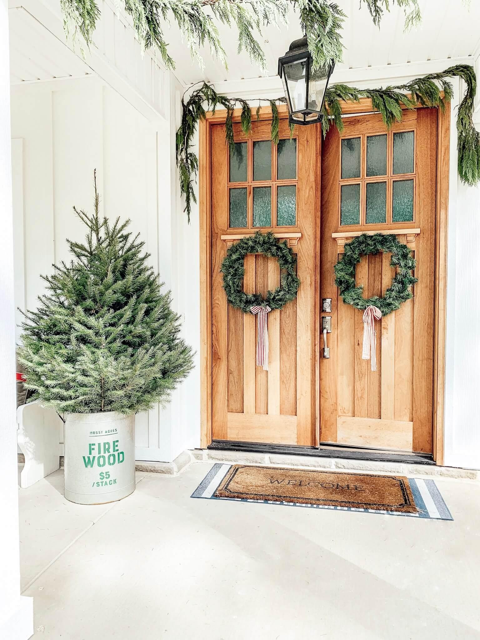 Front door Christmas decor.