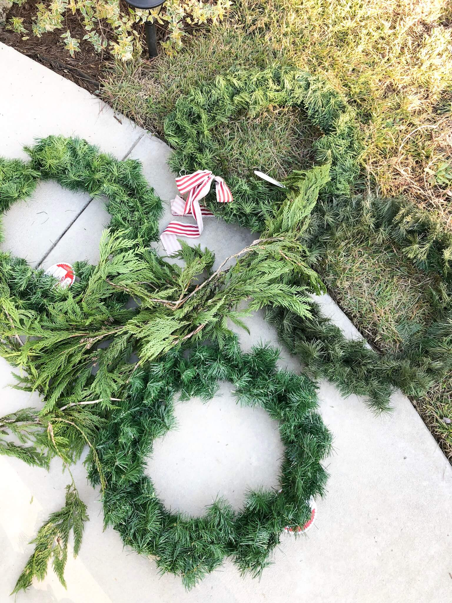Christmas wreaths and garland.