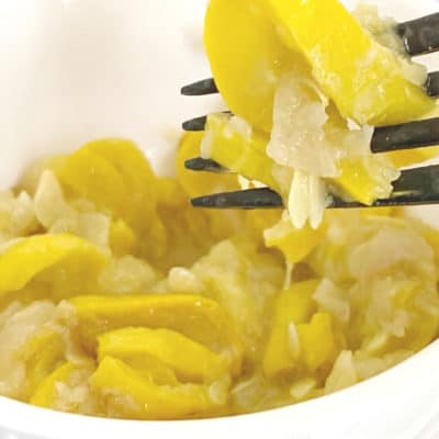 Stewed Squash in a bowl with a black fork.