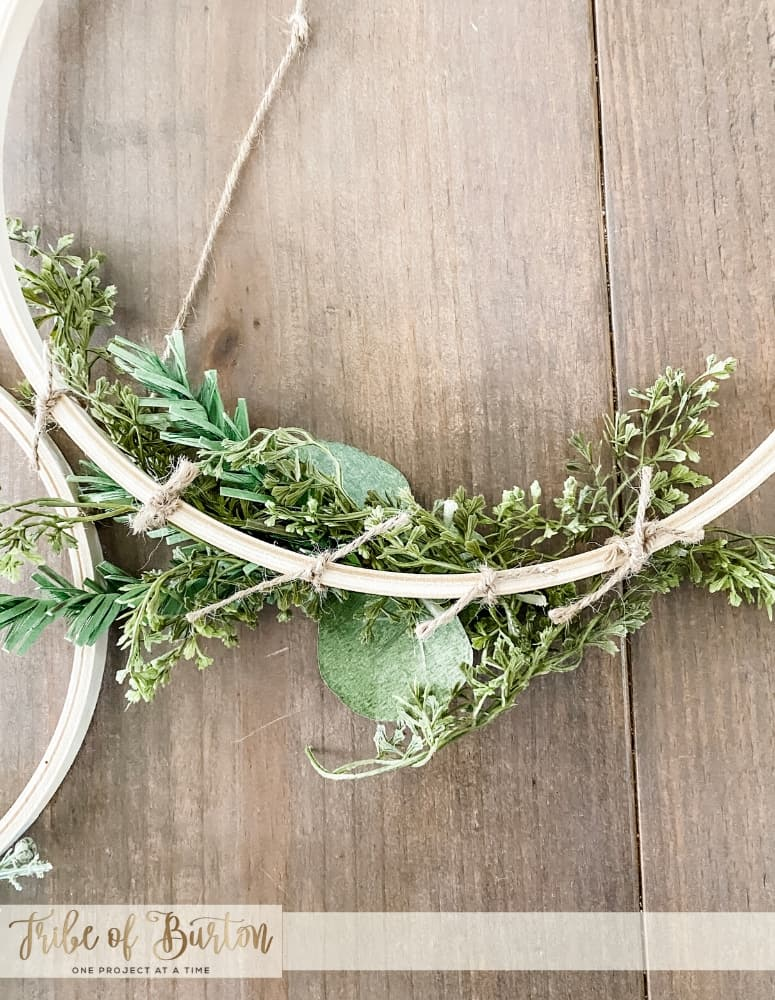 Close up of twine wrapped around hoop wreath