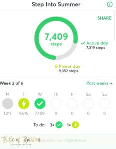 Step Bet screen shot showing I was getting active everyday