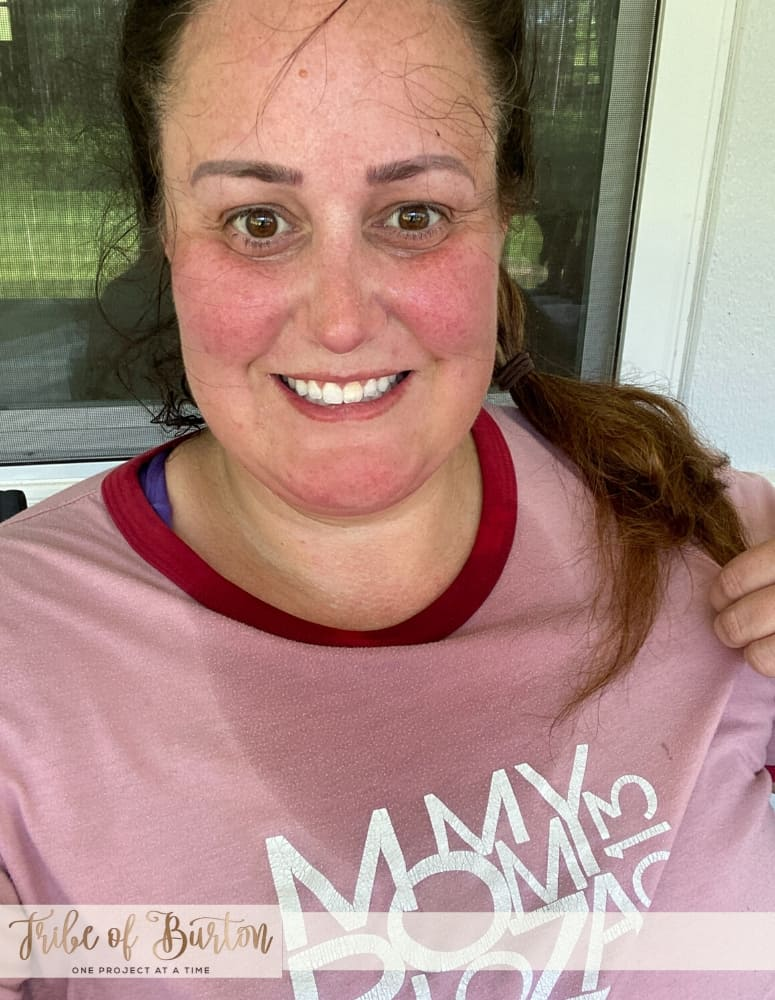 Girl shirt covered in sweat after working out.