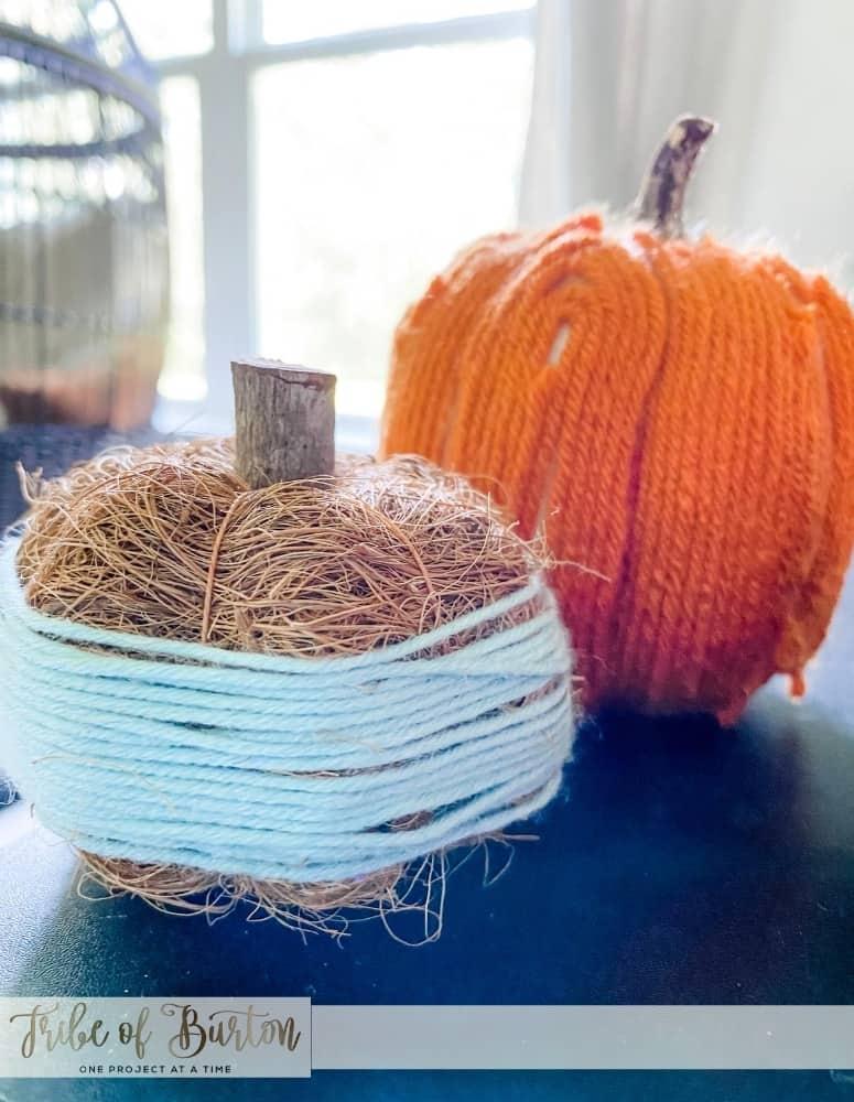 2 Pumpkins twirled with yarn