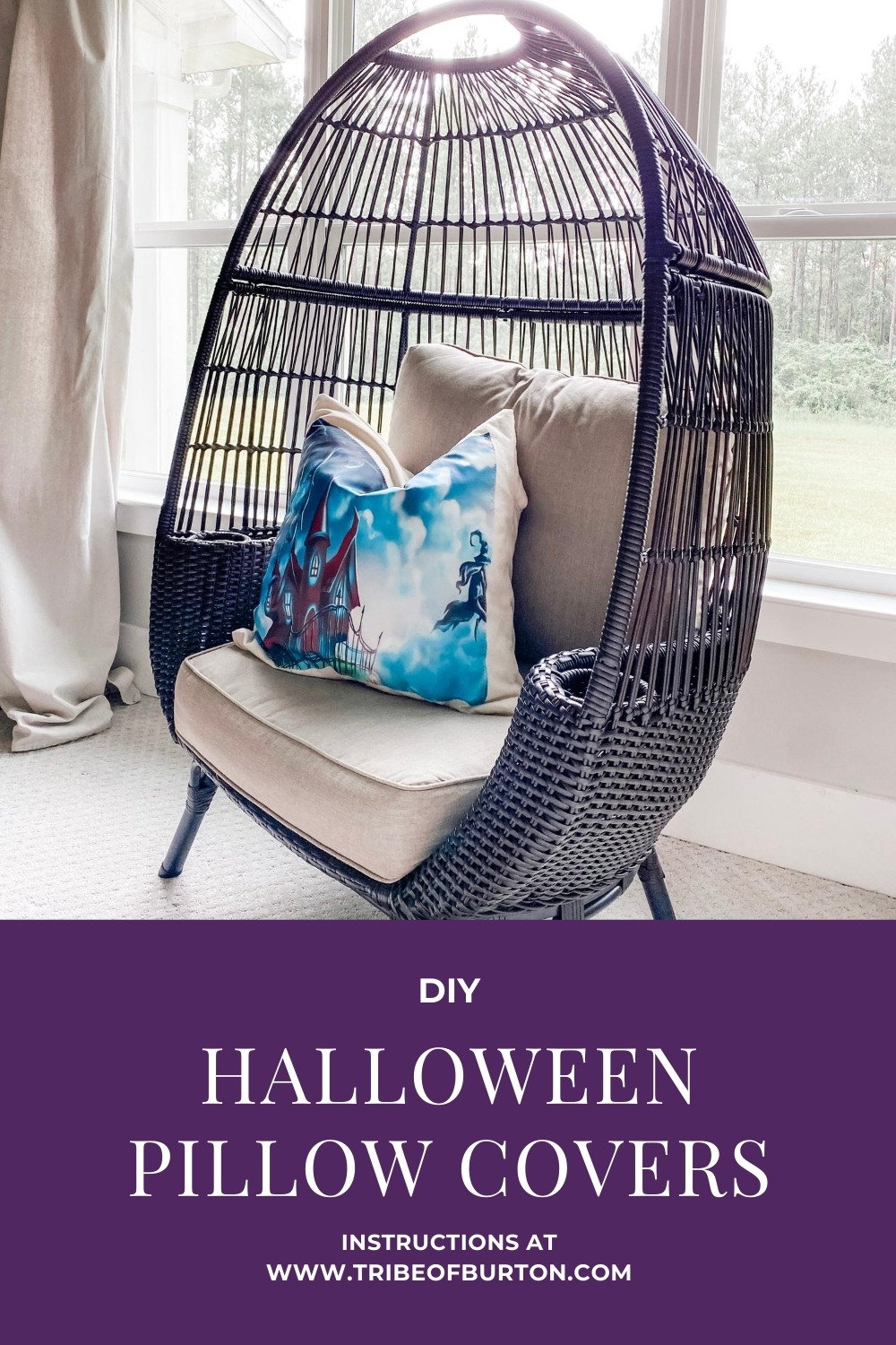 Halloween Pillow Cover in chair in bedroom by window.