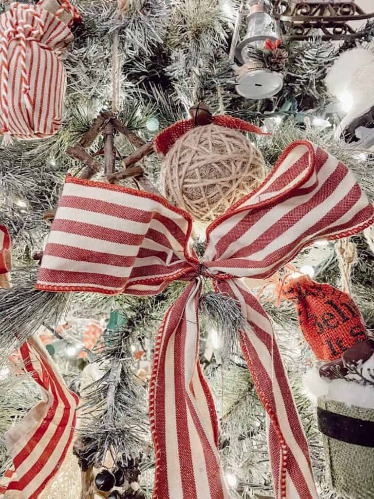 Red and White ribbon on Christmas Tree