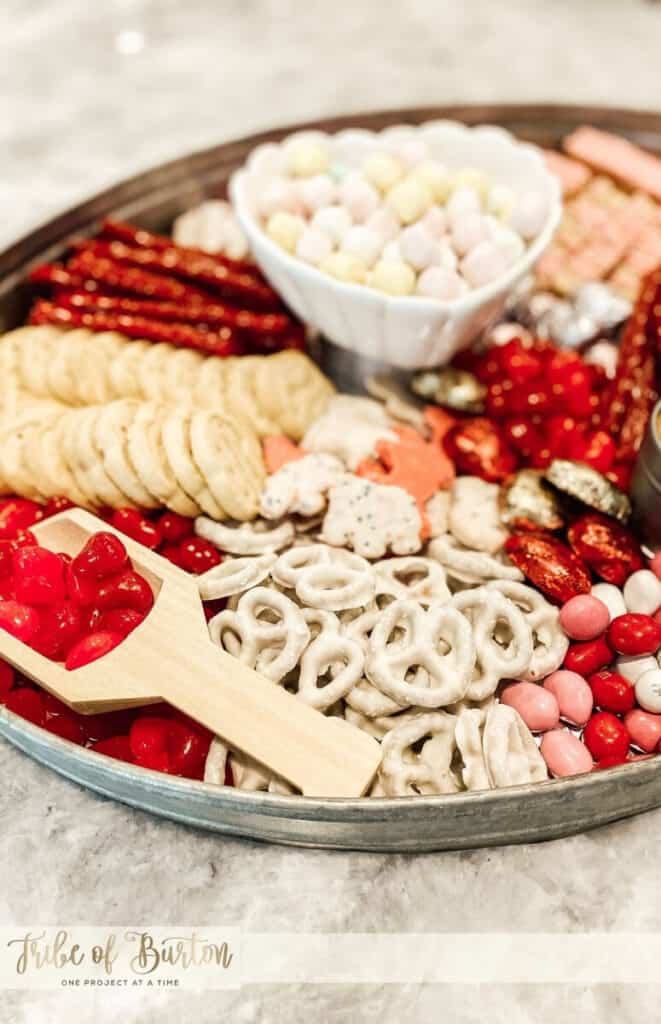 Charcuterie board with candy