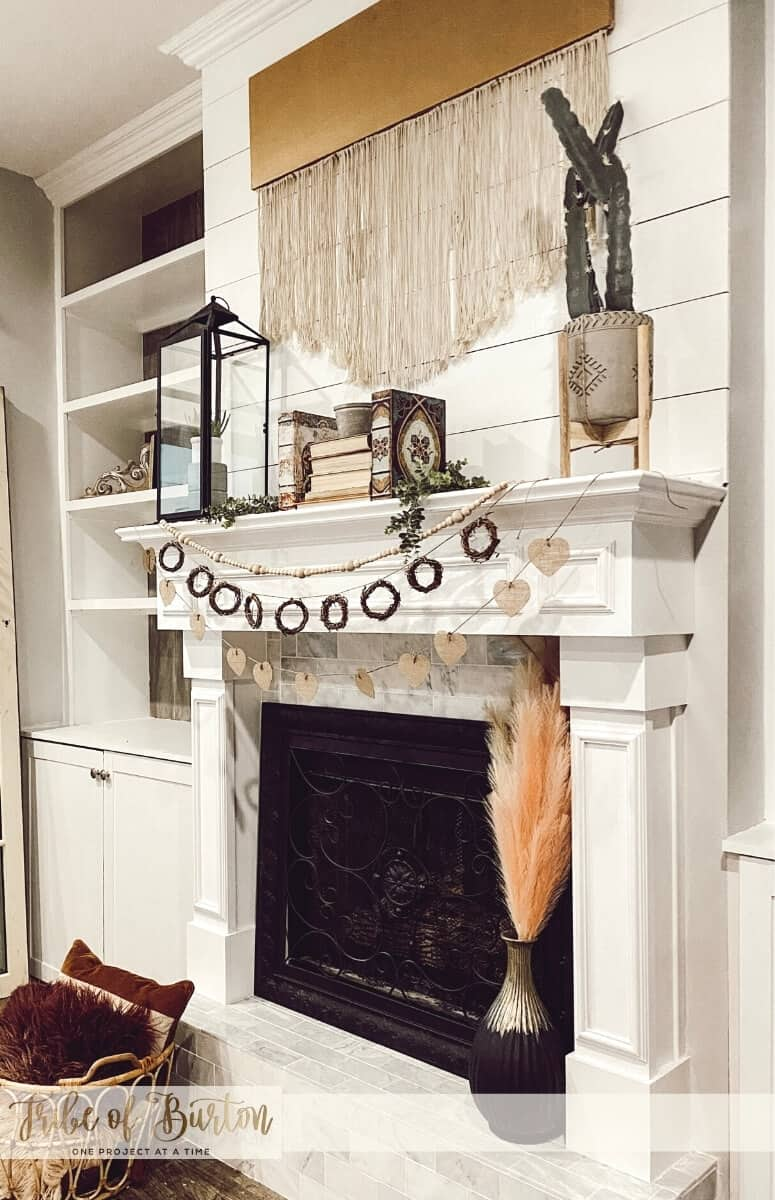 Mantle with mix colors and wood.