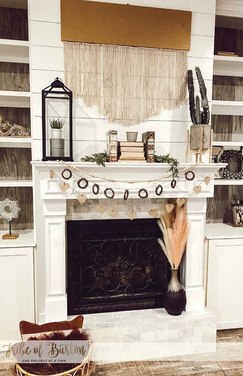 Valentine's Day Mantel with Hearts Boho style