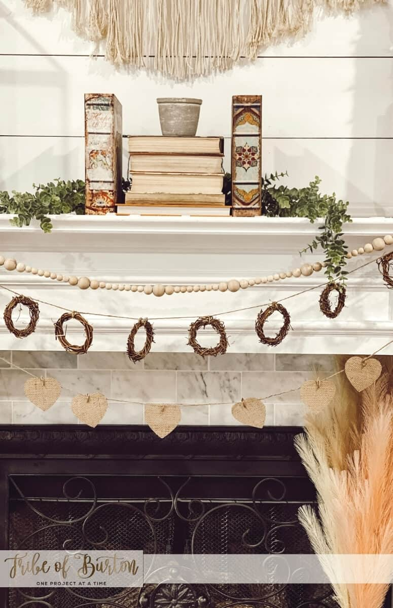 Pink and Brown BOHO Valentine's day mantel